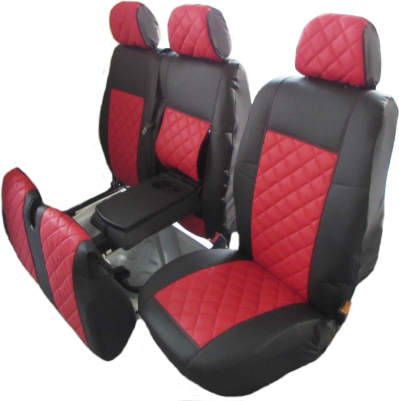 Texmar IVECO Fundas de Asiento para Volante a la Izquierda Piel, 2 + 1 Individual, 1 Doble Color Rojo
