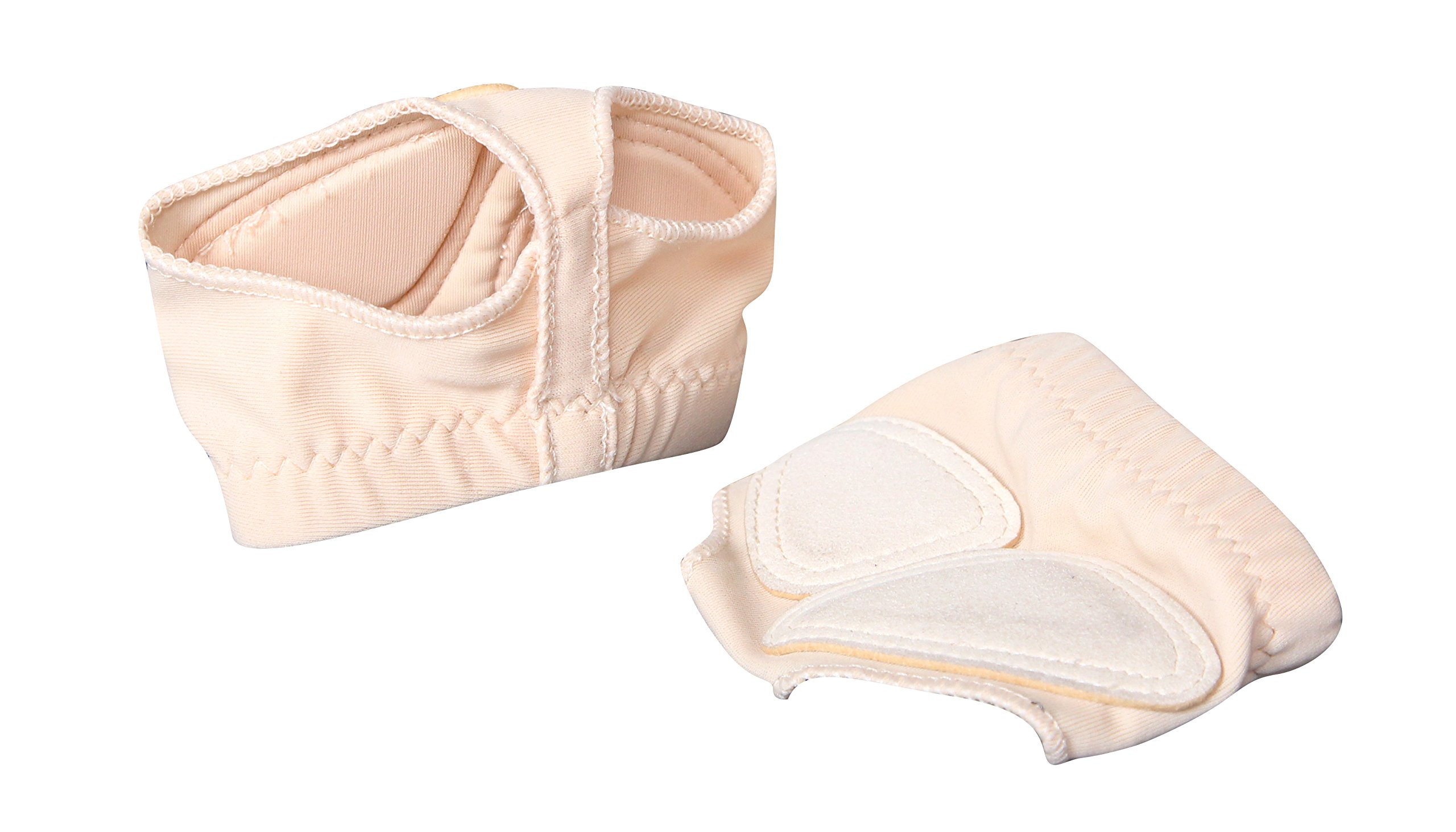 TOFERN Unisex 2 Pairs Lyrical Yoga Ballet Latin Belly Dance Half Sole Protection Bare Foot Thong Toe Pad Dance Paw Shoes Fitness, Beige3