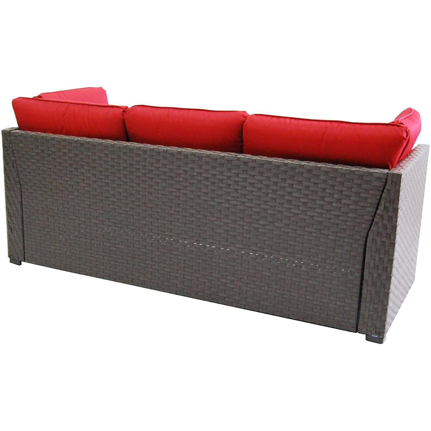Amazon Rush Valley 3 piece Outdoor Sectional Sofa Set Red