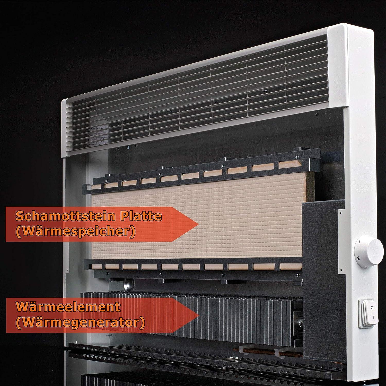 Speicherheizung//Schamottespeicher mit integrierten Thermostat und Wandhalterung Ma/ße: Elektroheizung Heizk/örper BxHxT : 41,5cm x 44,5cm x 8,5cm 1000 Watt