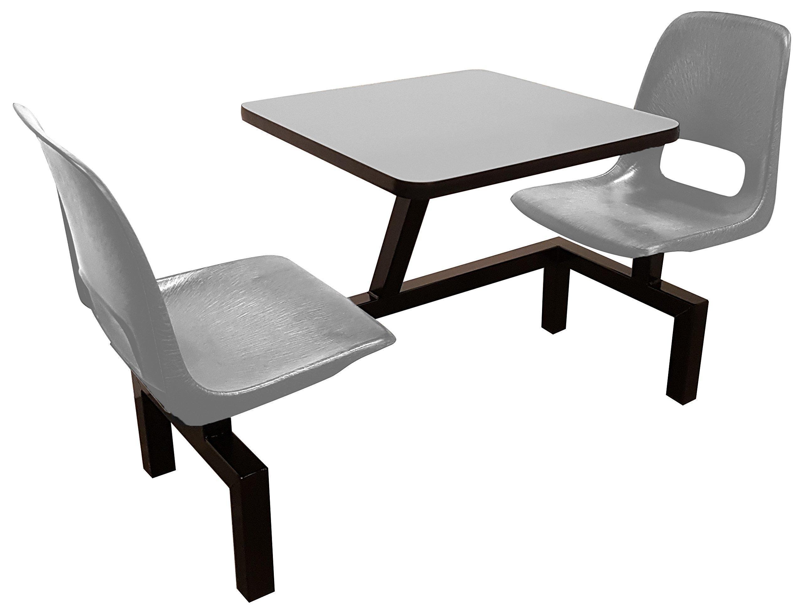 Rodo Industries 12STW-NB-GR 12STW,NB,GR Series 1 Public Cluster Modular Seating, Two Seat Wall Units, Grey Seat, Grey Tabletop, 60'' x 24'' x 29''