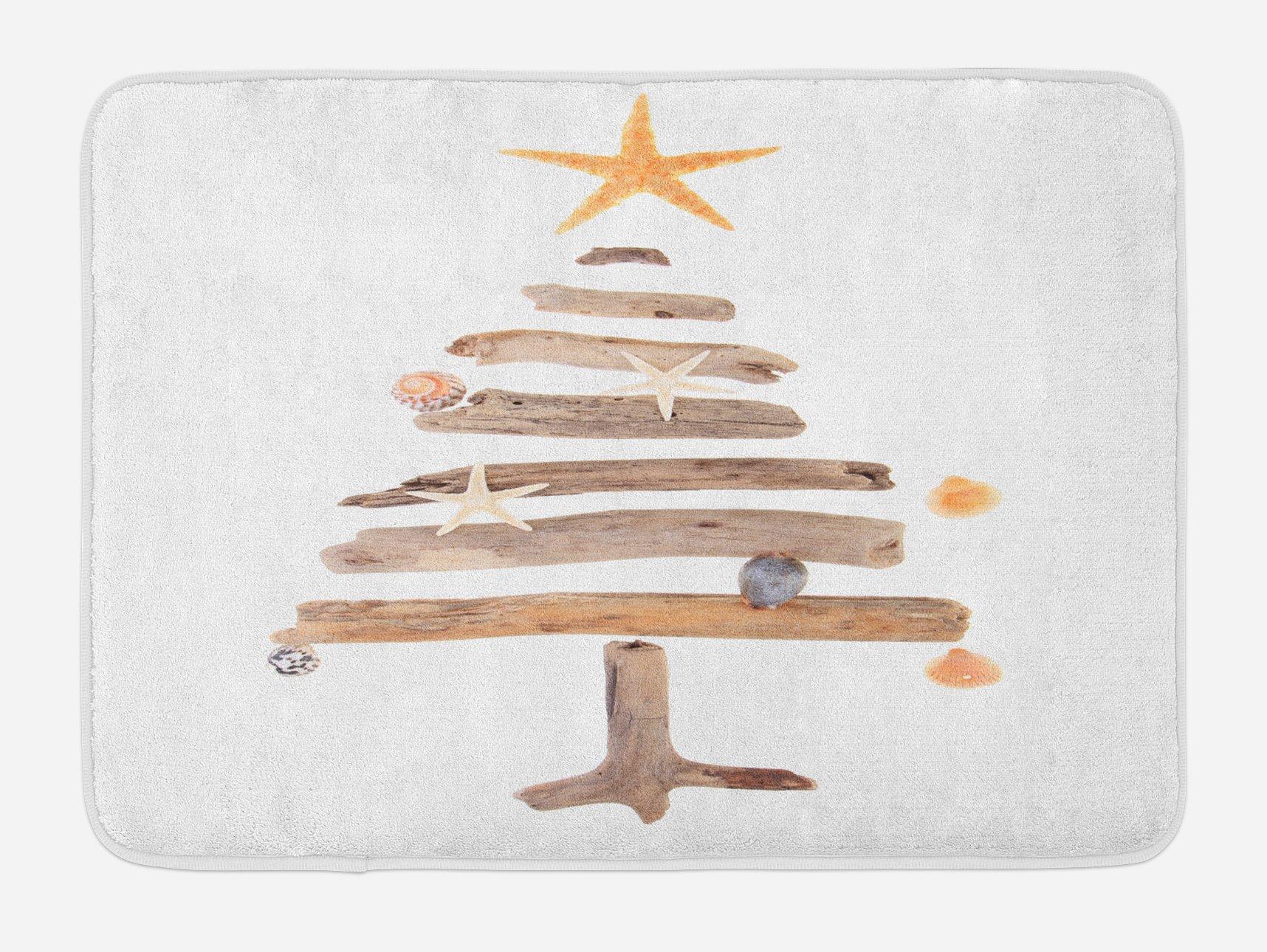 Lunarable Christmas Bath Mat, Driftwood Tree with Ornamental Nautical Design Starfish and Seashells Noel Theme, Plush Bathroom Decor Mat with Non Slip Backing, 29.5 W X 17.5 W Inches, Multicolor