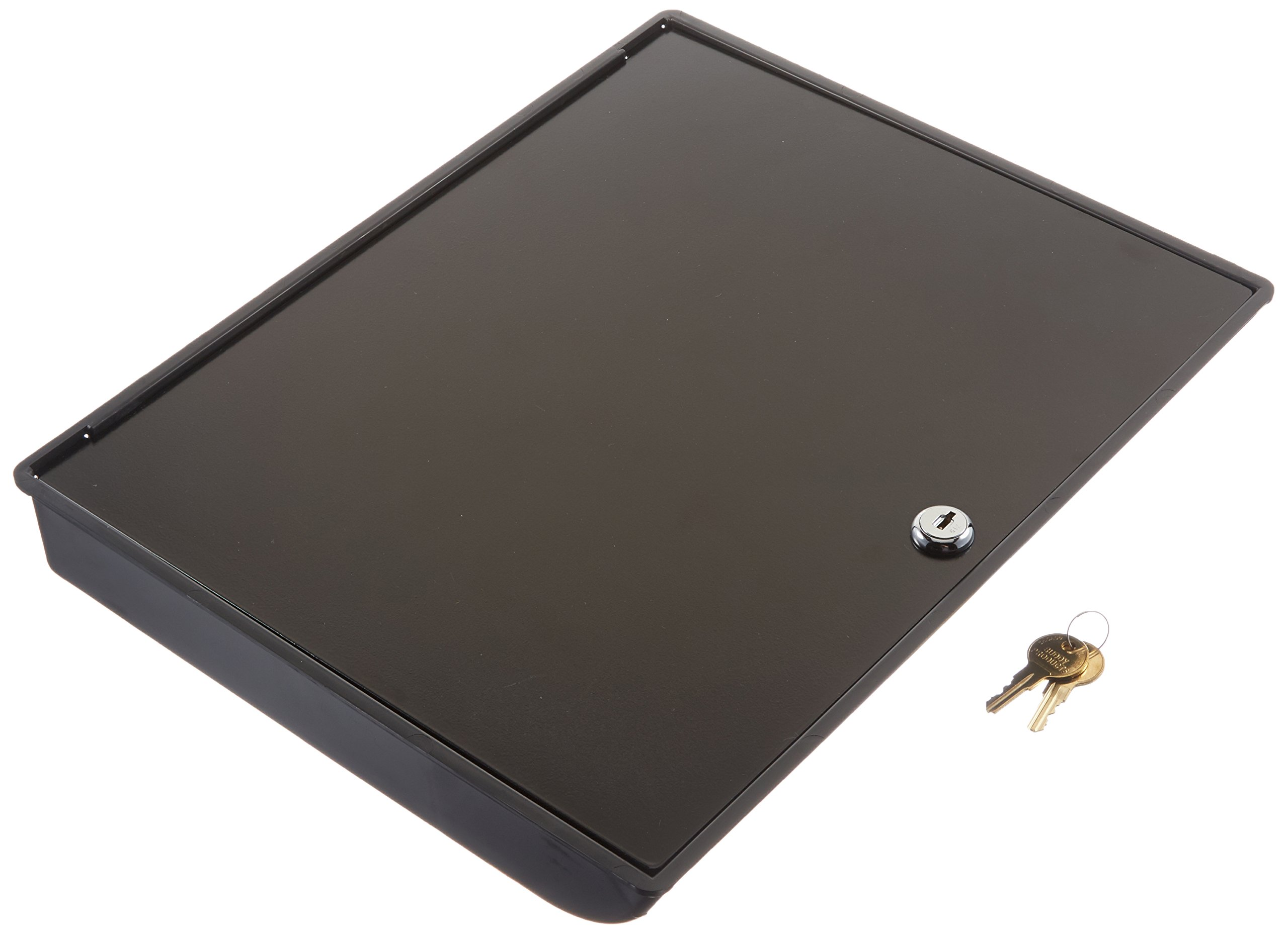 Buddy Products Coin and Bill Tray with Metal Security Lid, 11.5 x 2 x 14.375 Inches, Black (0544-4)