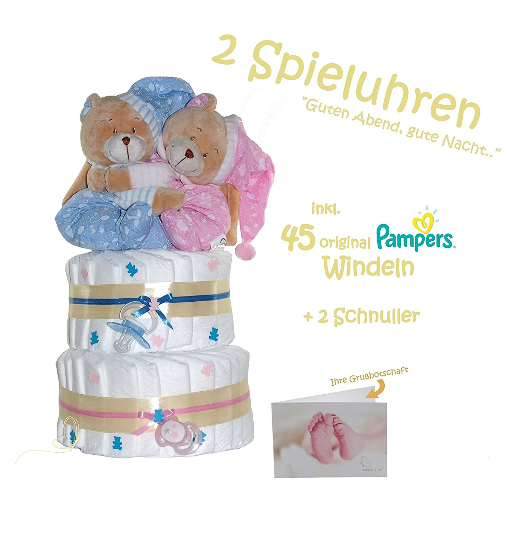 Windeltorte Zwillingsbären - Geschenk für Zwillinge zur Geburt - inkl. 2 süßen Spieluhren © dubistda (rosa/blau) dubistda.de