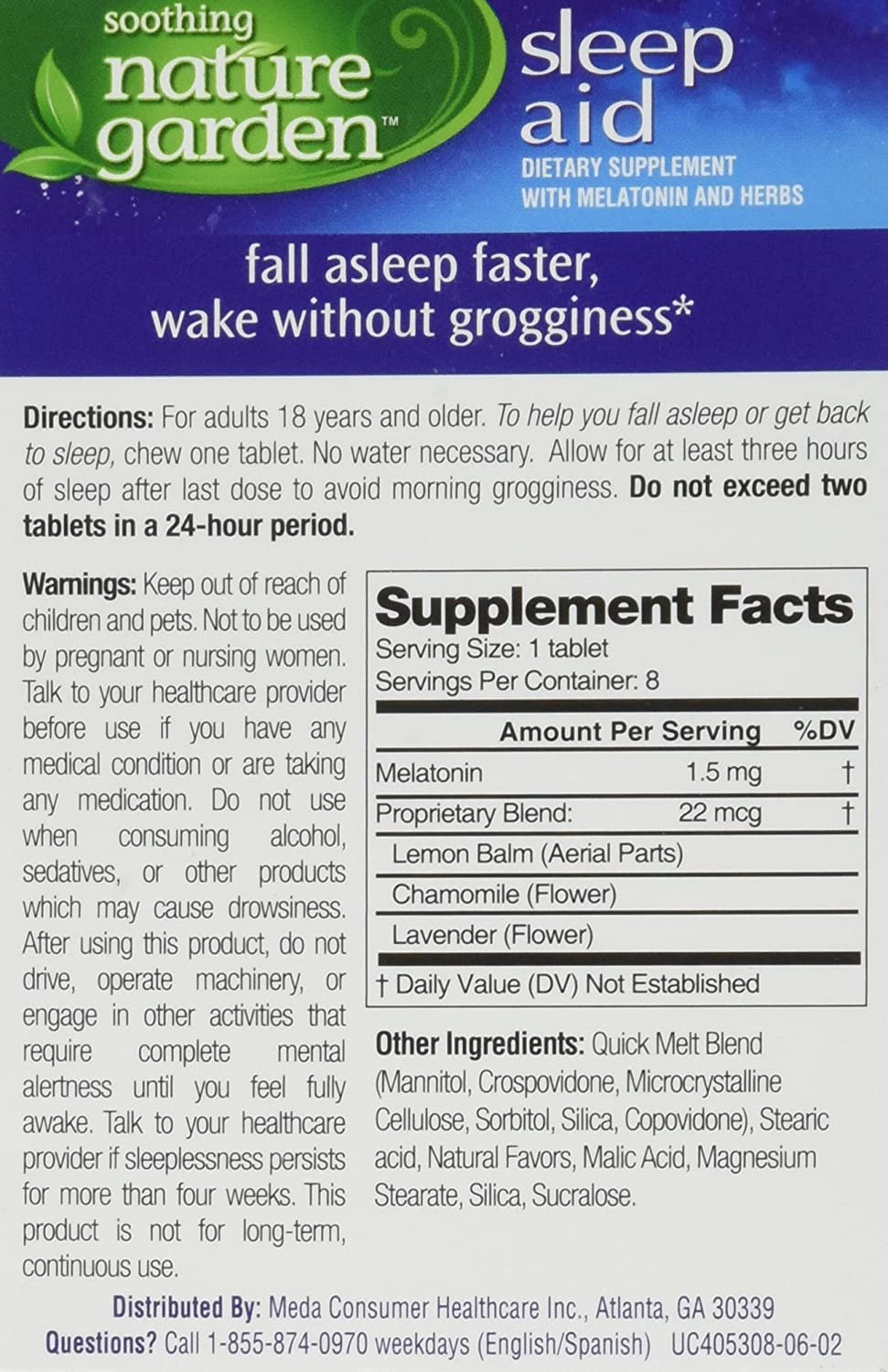 Amazon.com: Soothing Nature Garden Sleep Remedy 8ct Chewable Tablets (5 Boxes) *Compare to MidNite* (5 Boxes): Health & Personal Care