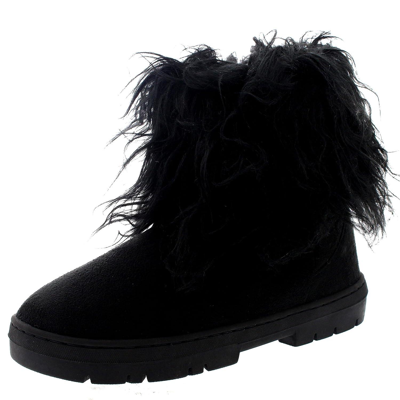 Womens Short Eskimo Winter Waterproof Hard Sole Mid Calf Boots B01FKMGL78 8 B(M) US|Black