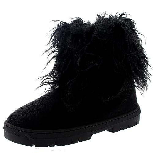 Womens Short Eskimo Winter Waterproof Hard Sole Mid Calf Boots