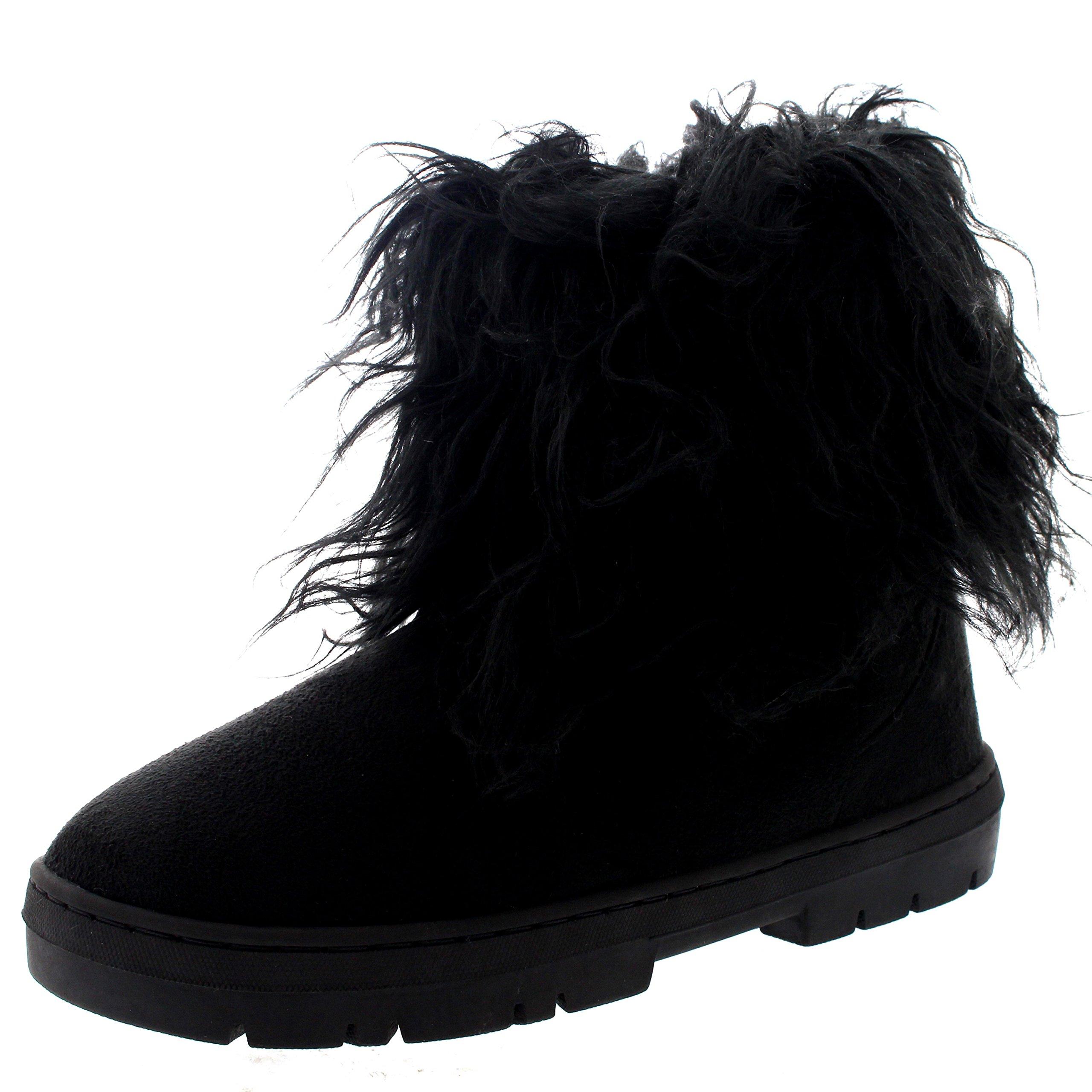 Womens Short Eskimo Winter Waterproof Hard Sole Mid Calf Boots - Black - US7/EU38 - BA0490