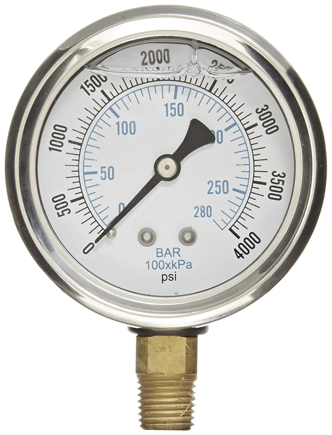 PIC Gauge PRO 201L 254Q Glycerin Filled Industrial Bottom Mount Pressure Gauge with Stainless Steel Case Brass Internals Plastic Lens 2 1 2 Dial Size 1 4 Male NPT 0 4000 psi