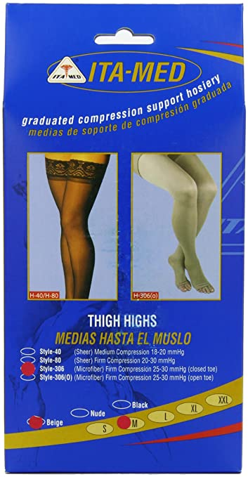 1ca8126965 ITA-MED Microfiber Thigh Highs - Compression Stockings (25-35 mmHg): H-306  Small: Amazon.ca: Health & Personal Care
