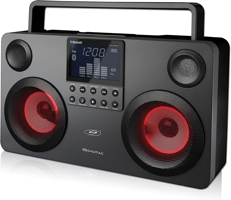 Boombox portátil S.DIGITAL. Altavoz Bluetooth inalámbrico USB/MP3/FM/SD – color gris ocuro