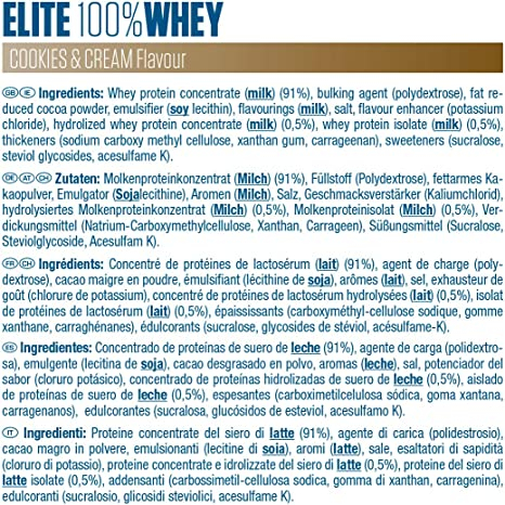Dymatize Elite Whey Cookies & Cream 2.1Kg, Pulverizador de adecuada Poteína y Baja Azúcar + Proteína de Suero y BCAA
