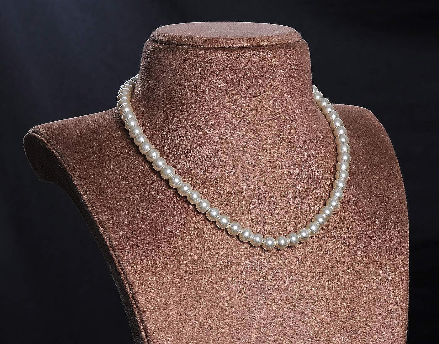Vishaka Pearls Strand White Pearl Necklace Set for Women Amazon ...