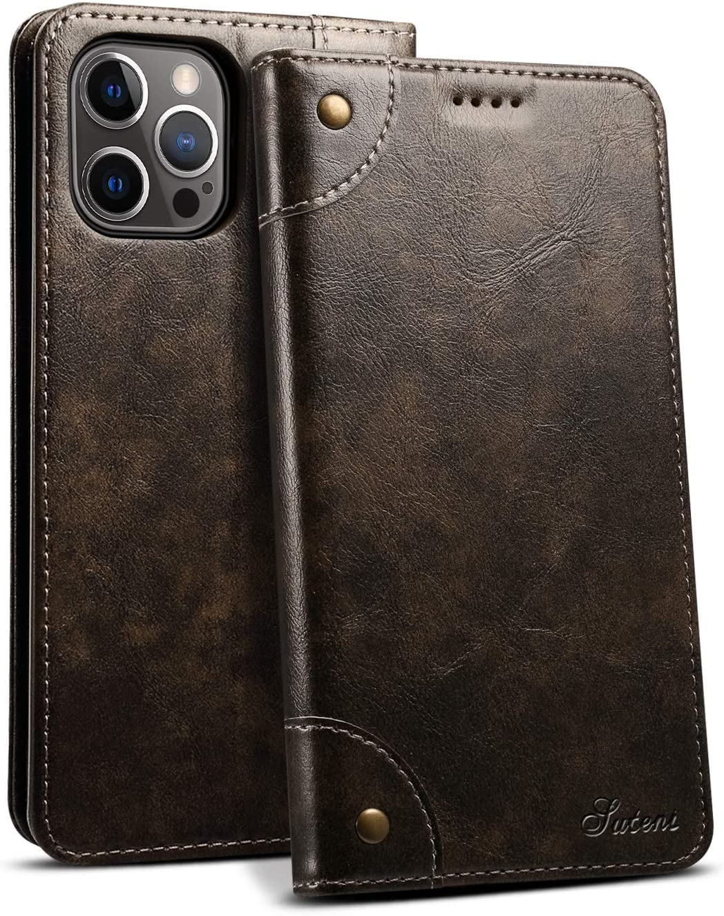 Case for iPhone 12 Pro Max 2020 5G 6.7 Money Card Black PU Leather Retro Texture Wallet Kickstand Shell for Men Women Fashion Protective Fold Shockproof Durable