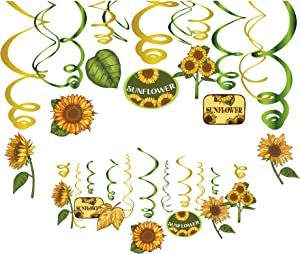 Kristin Paradise 30Ct Sunflower Hanging Swirl Decorations, Yellow Sunflower Party Supplies, Birthday Theme Decor for Kids Boy Girl Baby Shower, 1st Bday Favors Idea