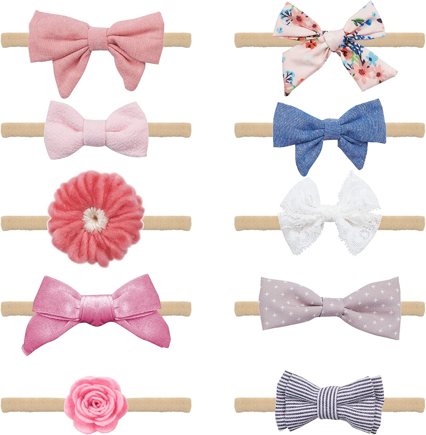 Baby Girl Headbands and Bows - 10 Piece Soft Elastic Nylon Flower Headband Accessories For Newborn, Infant, Toddler - Handcrafted Hair Bands & Ties - Perfect Baby Shower Gift