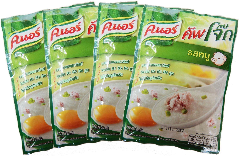 Knorr Cooked Organic Thai Jasmine Rice Porridge, Pork, 35 Gram (Pack of 4)