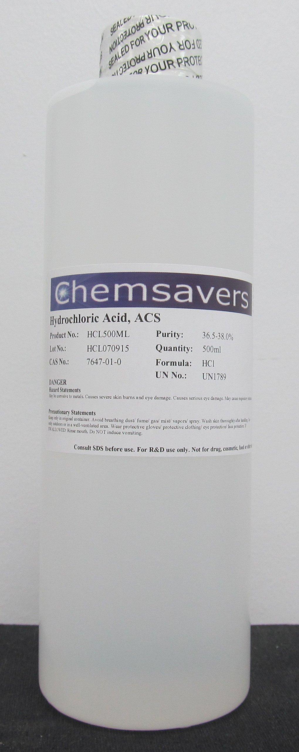 Hydrochloric Acid, ACS, 36.5-38.0%, 500ml