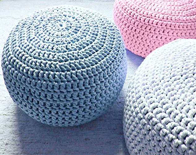 Baby Blue Nursery Foot Stool Pouf Ottoman Light Decor Furniture Crochet Floor