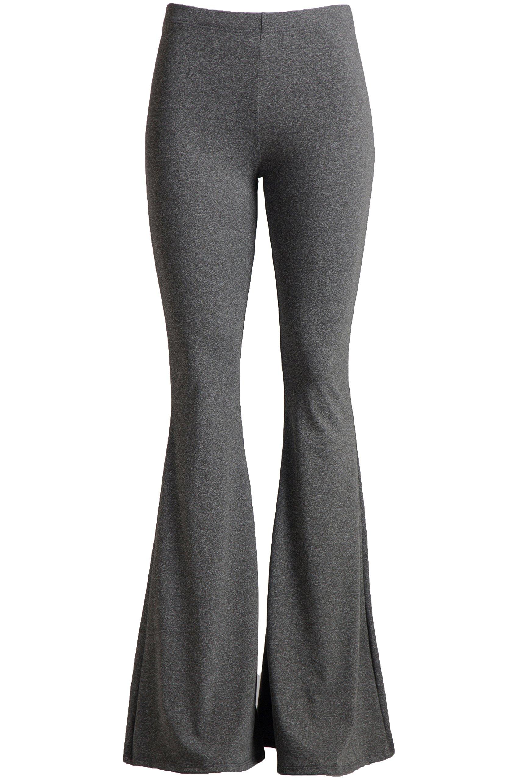 Fashionomics Womens Boho Comfy Stretchy Bell Bottom Flare Pants (S, H Charcoal)