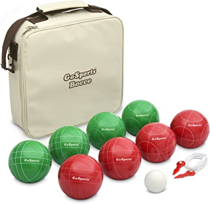 GoSports 90mm Classic Bocce Ball Set 4 Player Lawn and Beach Game