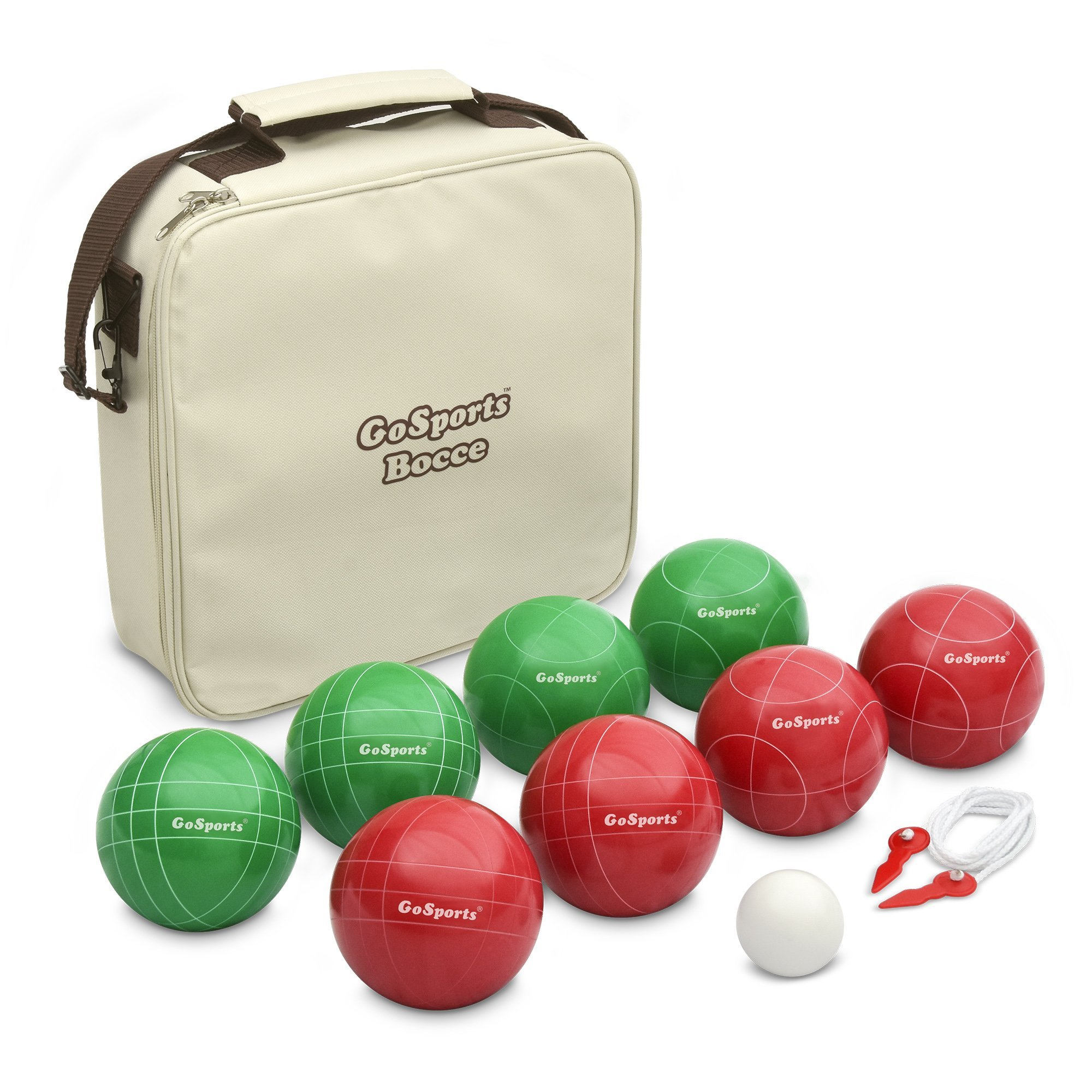 GoSports 100mm Regulation Bocce Set with 8 Balls, Pallino, Case and Measuring Rope - Premium Official Size Set by GoSports
