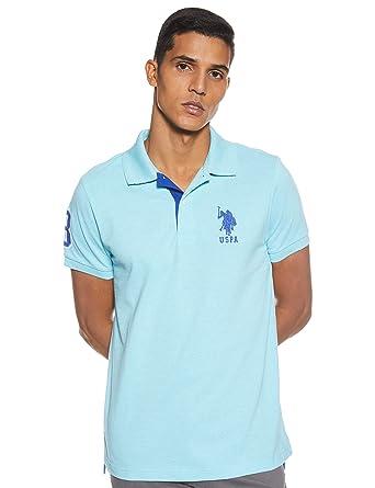 U.S. POLO ASSN. Hombre 11654388 Manga Corta Camisa Polo - Azul - X ...