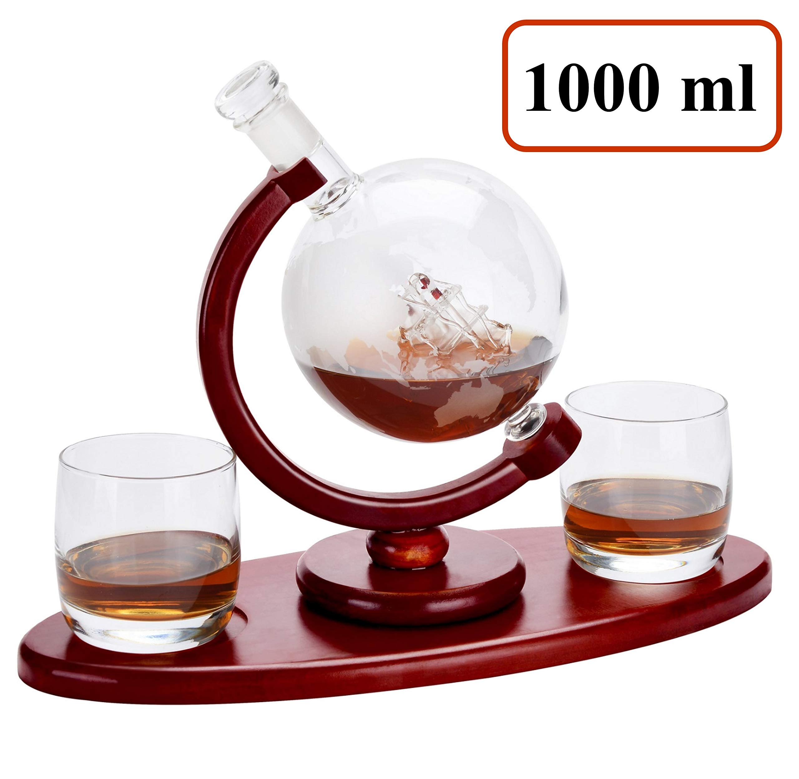 Mecete Whiskey Decanter Globe set 1000 ml with 2 Etched Whisky Glasses-HOME BAR DECOR - for Liquor, Scotch, Bourbon, Vodka, Water, Iced Tea and Juice - 1000ml