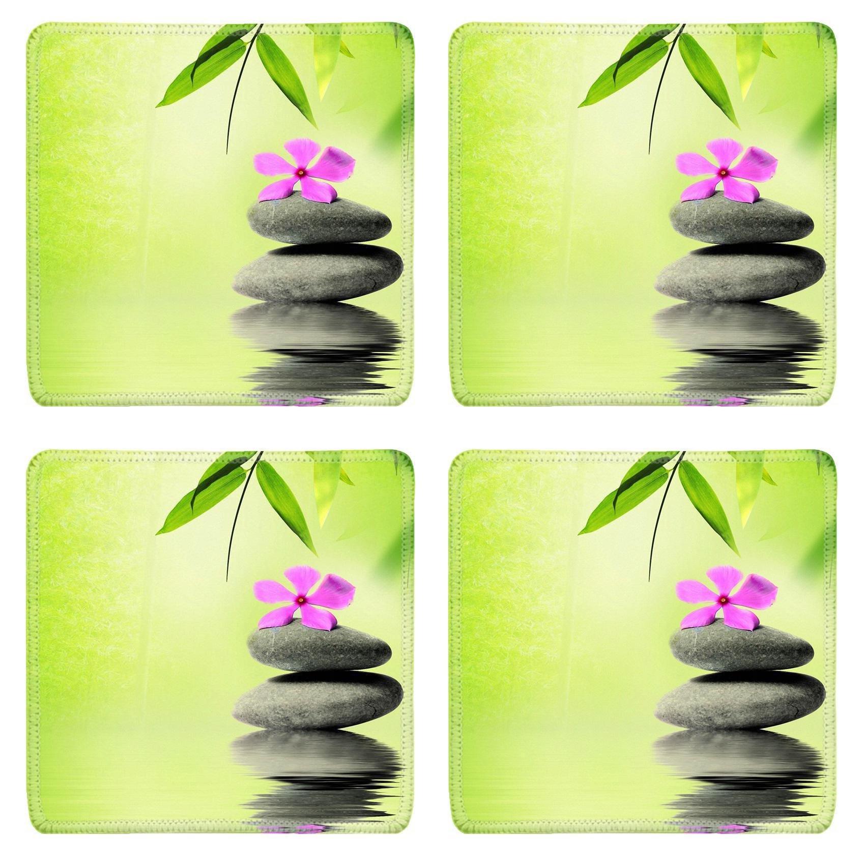 MSD Square Coasters Non-Slip Natural Rubber Desk Coasters design 20152514 Zen stone with flower in Spa concept