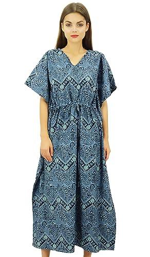 Bimba Lunghe In Cotone Kaftan Maxi Stampato Vestito Dal Kimono Coulisse Cover Up Da Notte Delle Donn...