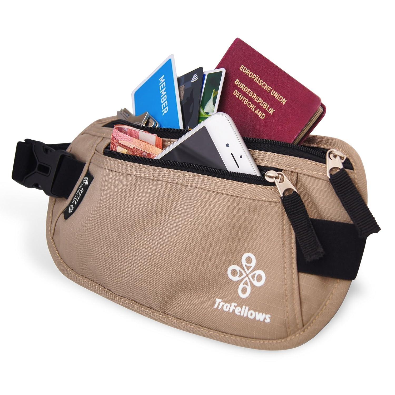 Premium Reise-Bauchtasche mit RFID-Blocker für Damen & Herren - Leichte Hüfttasche enganliegend - Gürtel-Tasche für Sportler & Reisende - Flacher Geld-Gürtel - Brustbeutel-Alternative (Beige)