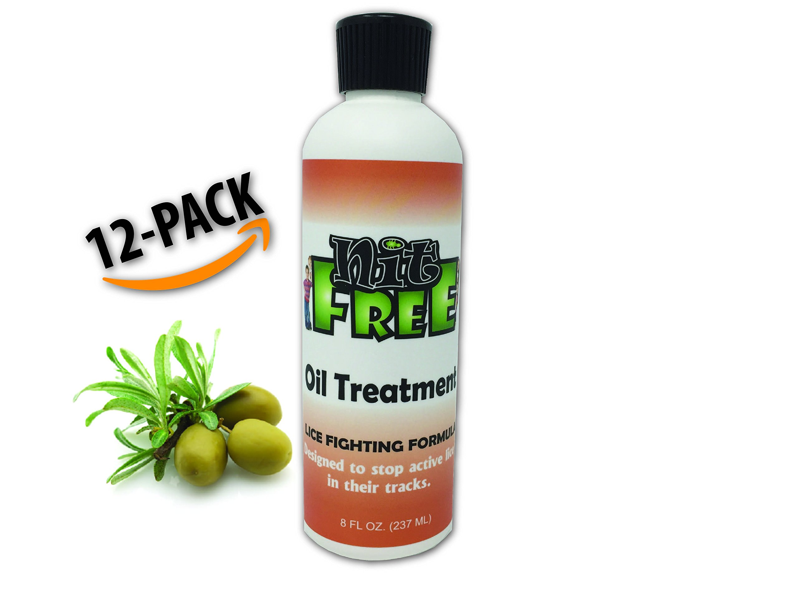 Nit Free Lice Treatment Shampoo for Head Lice. 8oz 12 Pack Olive Oil Based Headlice Treatment. For Removal of Super Lice. From the Maker of Nit Free Terminator Lice Comb and Lice Prevention Products