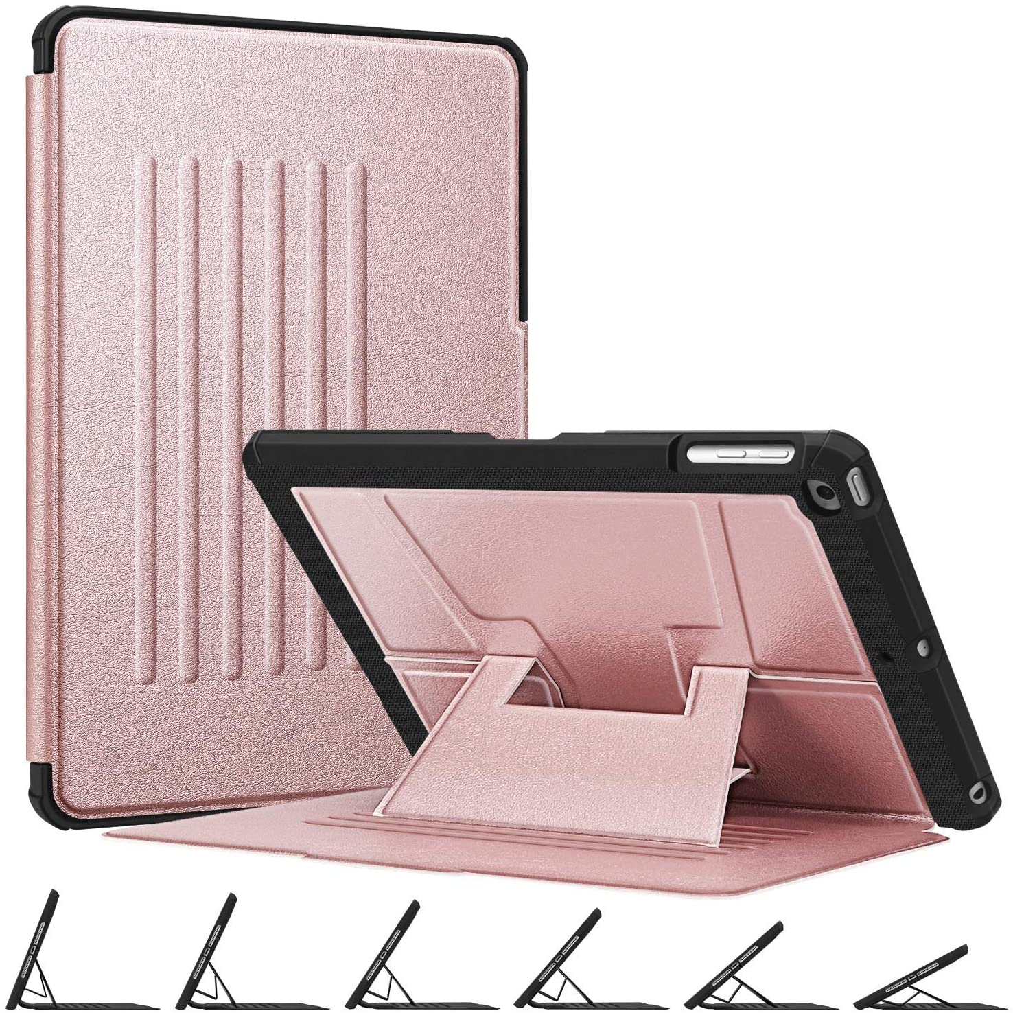 Fintie Magnetic Stand Case for iPad 6th / 5th Generation - [Multiple Secure Angles] Shockproof Rugged Soft TPU Back Cover for iPad 9.7 2018 2017 / iPad Air 2 / iPad Air, Auto Wake/Sleep, Rose Gold