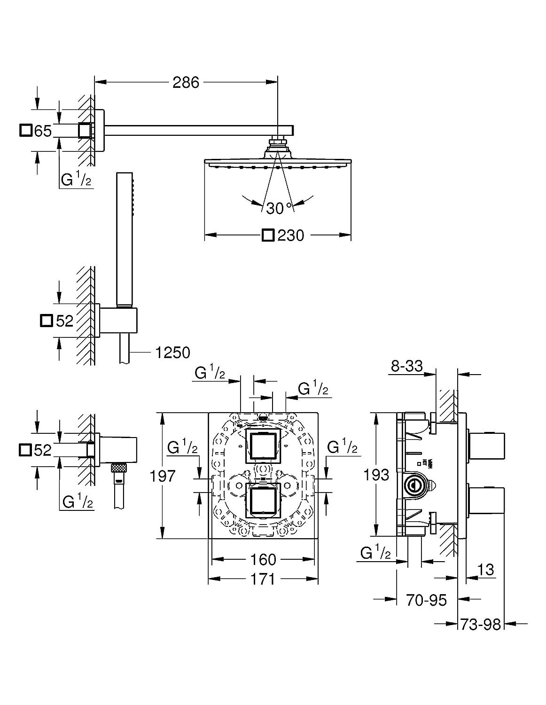 Import Allemagne GROHE 34506000 Grohtherm Kit de Douche Encastr/é Cube 230