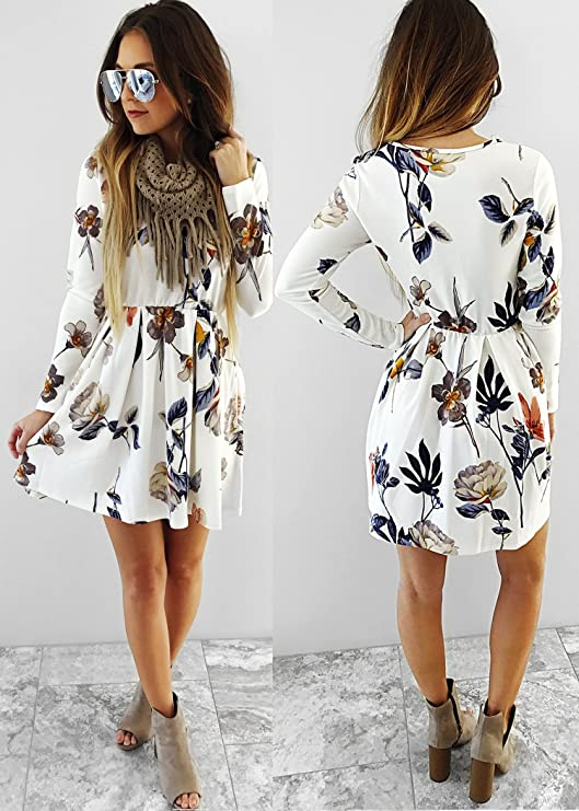 Angashion Cute Valentines Day Dress for Women, Long Sleeve Floral Mini Dress