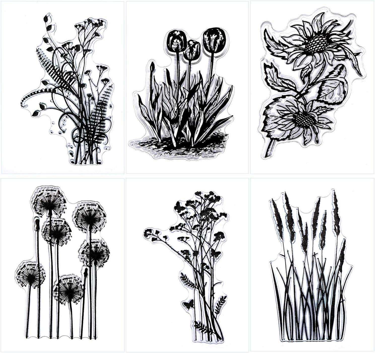 Outus 6 Sheets Silicone Clear Stamps Card Making Clear Stamps with Sunflower Dandelion Lavender Tulips Flowers and Leaves Designs for Card Making and DIY Scrapbooking