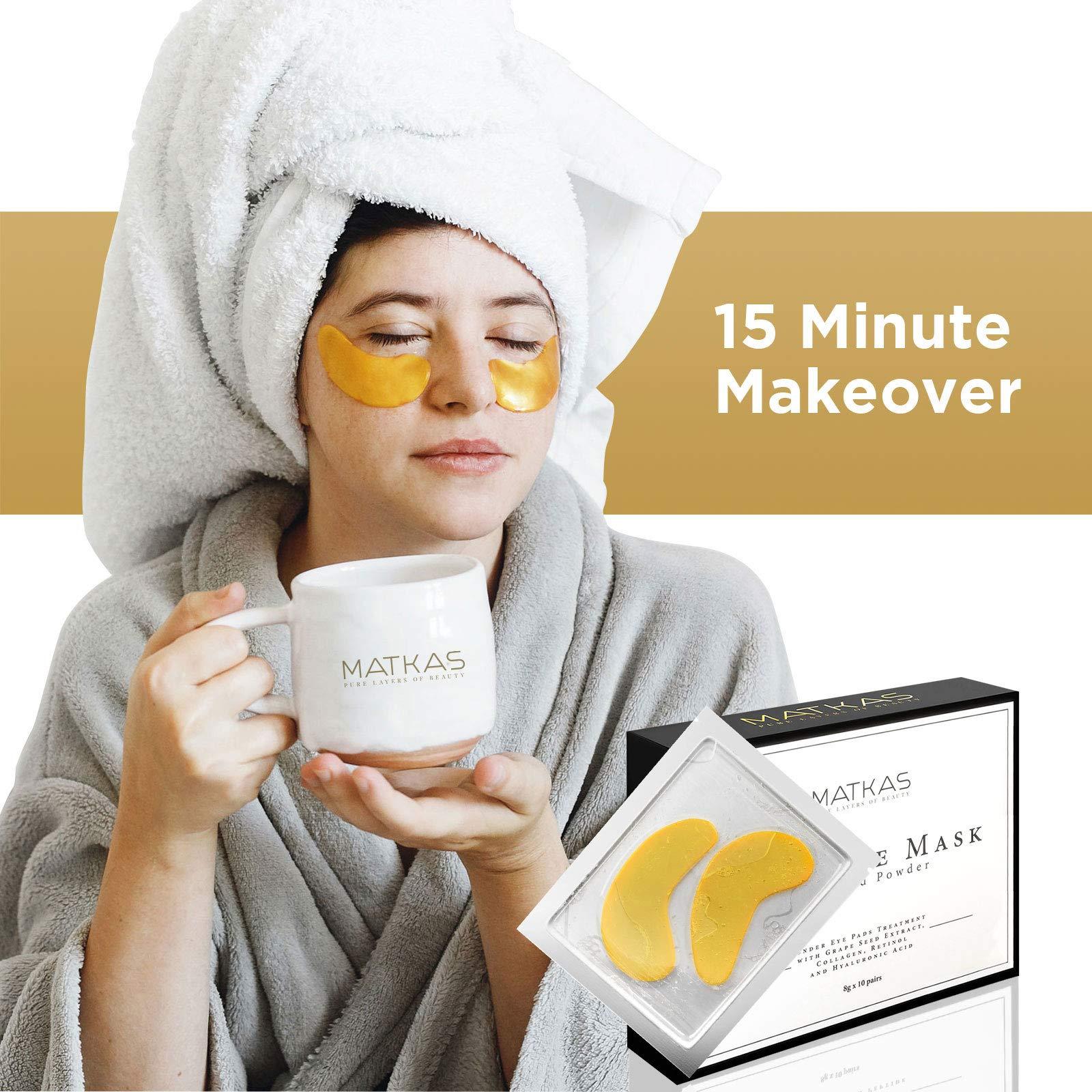 Matkas 24K Gold Eye Treatment Masks - Under Eye Patches, Dark Circles Under Eye Treatment, Under Eye Bags Treatment, Eye Mask for Puffy Eyes, Anti-Wrinkle, Undereye Dark Circles, Gel Pads 10 Pairs by MATKAS