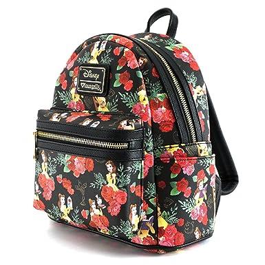 d8c76e5b7c6 Loungefly Disney Beauty and the Beast Belle Rose Mini Backpack WDBK0254  Black  Amazon.co.uk  Clothing