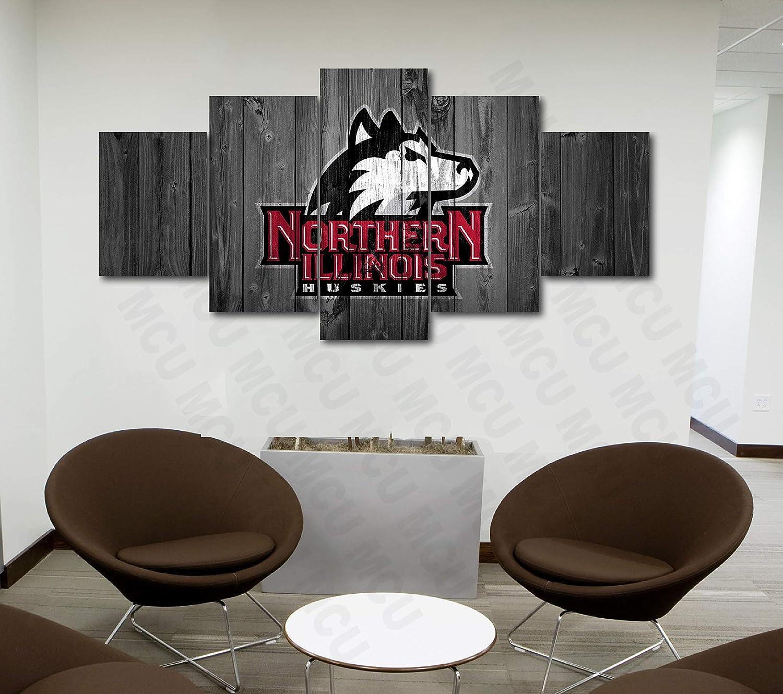 5 Piece American Football College University Teams Art Decor Wall Poster (5 Piece Medium, Northern Illinois Huskies)