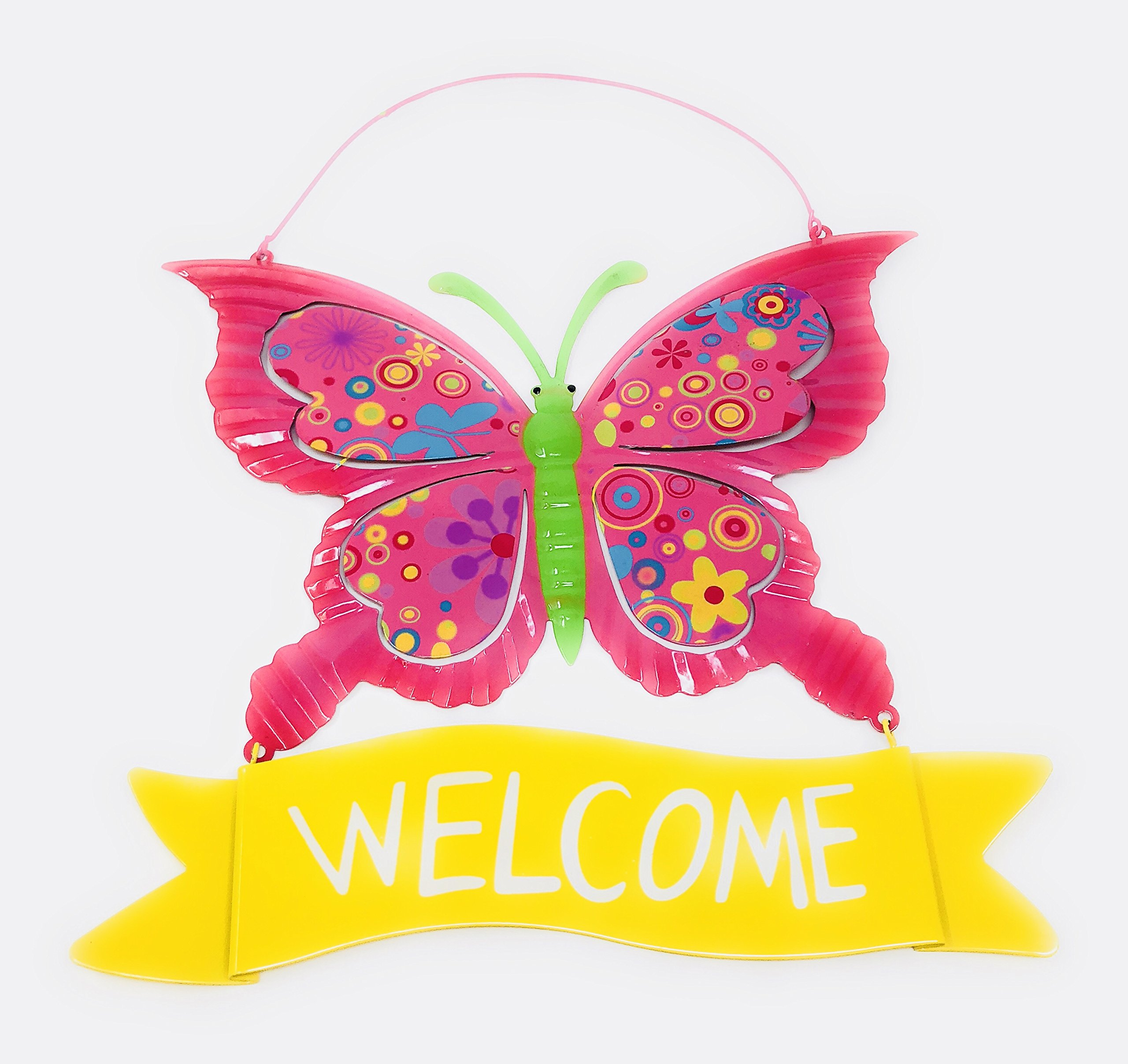 Metal Wall Art Decor Nature Inspired Flower Butterfly Sculptures For Indoor Outdoor with Welcome sign (Pink)