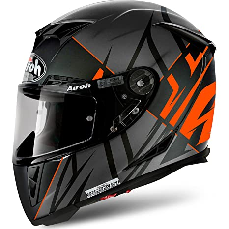 Casco Moto Airoh 2018 Gp500 Sectors Anaranjado Matte (Xl , Negro)