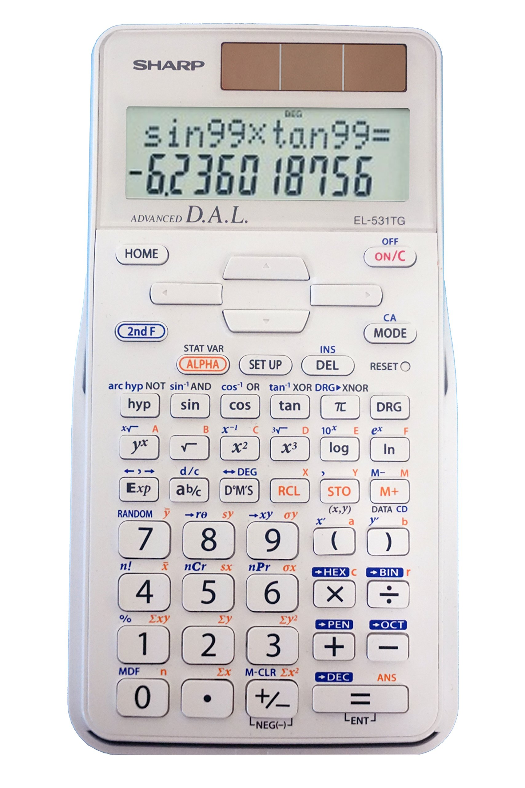 Sharp EL-531TGBDW 12-Digit Engineering/Scientific Calculator with Protective Hard Cover, Battery and Solar Hybrid Powered LCD Display, Great for Students and Professionals, Silver