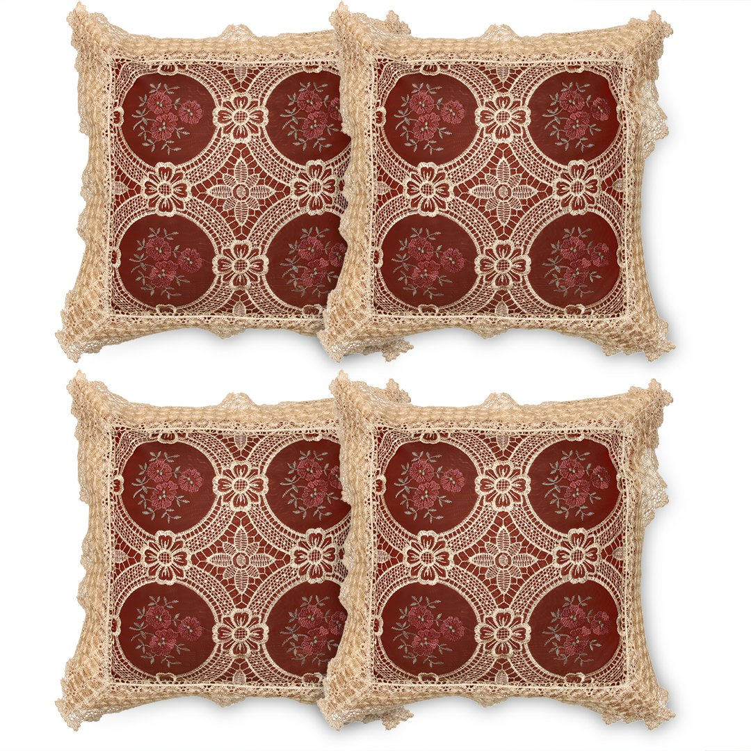 Simhomsen Set Of 4 Decorative Lace Throw Pillow Case Pillow Shams Cushion Cover Vintage Look, Burgundy