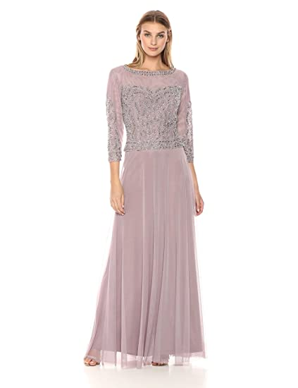 d879efd917 Cachet Women s 3 4 Sleeve Beaded Embellished Gown Mother of The Bride Dress