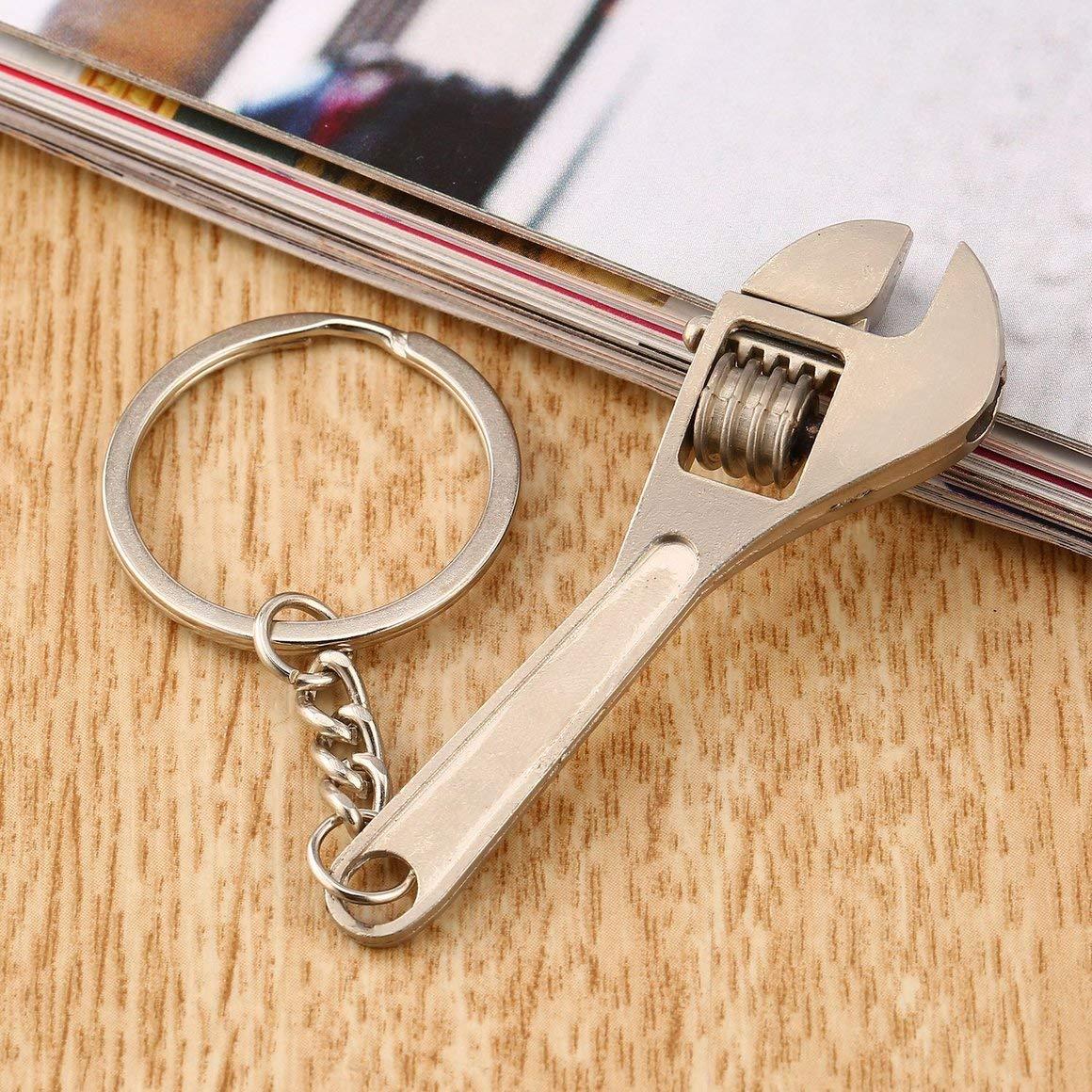 Silver Funnyrunstore Multifunctional Mini Metal Adjustable Creative Tool Wrench Spanner Key Chain Ring Keyring Adjustable Pocket Tools