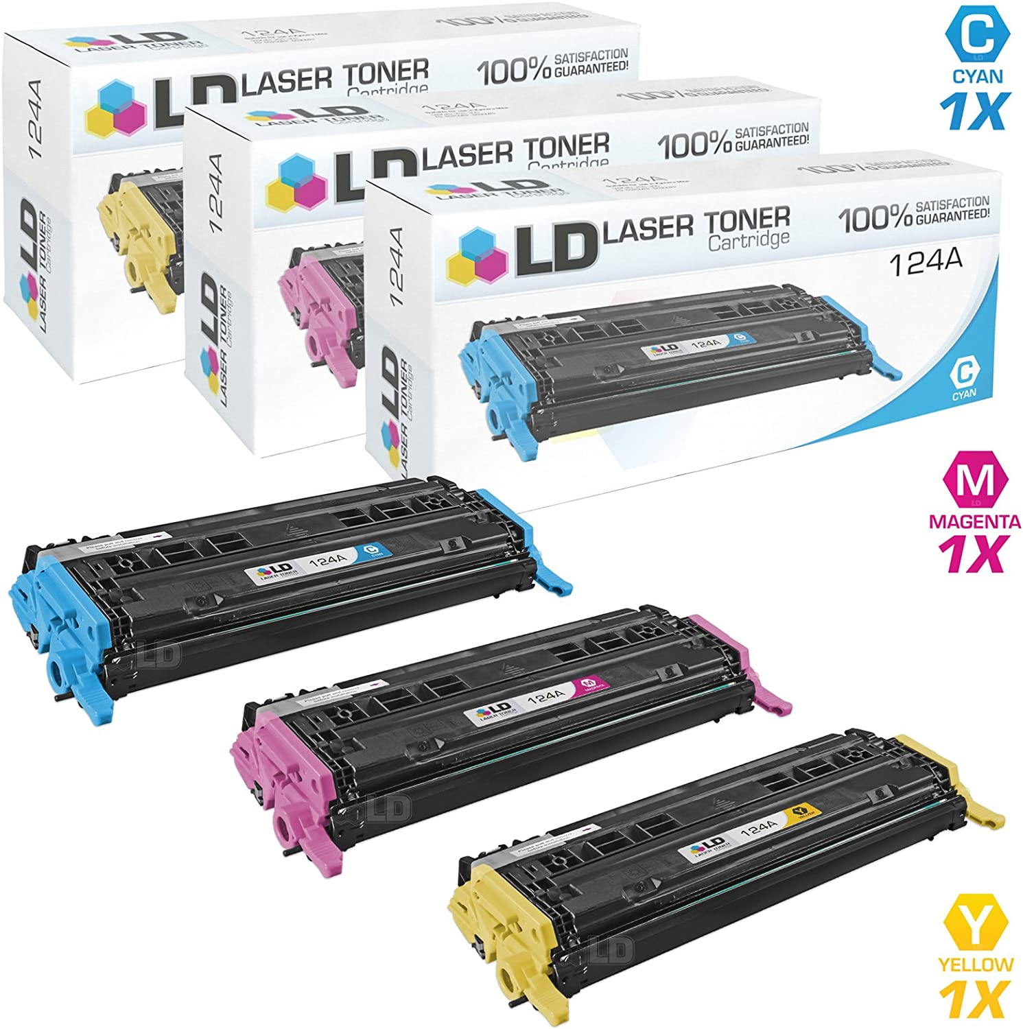 LD Remanufactured Toner Cartridge Replacement for HP 124A (Cyan, Magenta, Yellow, 3-Pack)