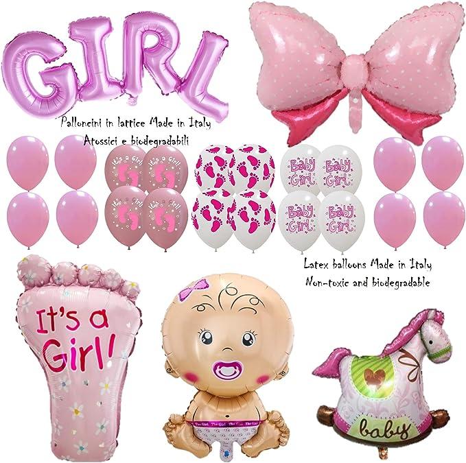Shopama Globos decorativos para nacimiento, bautizo, baby shower, niña, niña, rosa, con texto hinchable, globos de Mylar y látex hinchables con helio, juego de 21 unidades