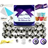 Russian Piping Tips 109 Pcs Set - Cake Decorating supplies Gift Box With 109 Baking Supplies Set +22 Icing Nozzles +25 Cupcake Cups +50 Pastry Bags +5 Brushes +3 Couplers +Detailed Brochure & Rose Kit