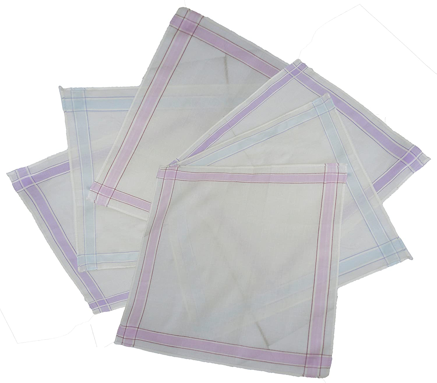 Passionelle® 6 Pack Ladies White 100% Cotton Handkerchiefs With Stripes