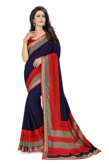 70026882a9 Oomph! Georgette Sarees (rbaf_1463_Indigo Blue_Free Size): Amazon.in ...